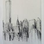 Manhattan, Chrysler Building depuis Roosvelt Island - dessin au feutre